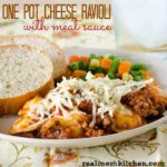 One Pot Cheese Ravioli with Meat Sauce | realmomkitchen.com