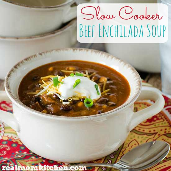 Slow Cooker Beef Enchilada Soup l| realmomkitchen.com