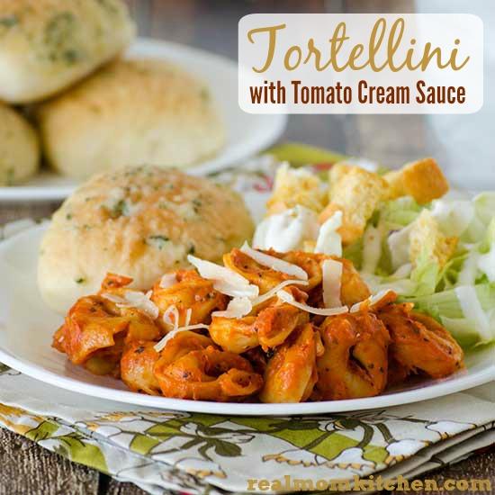 Tortellini With Tomato Cream Sauce l| realmomkitchen.com