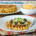Cornbread Waffles with Chili | realmomkitchen.com