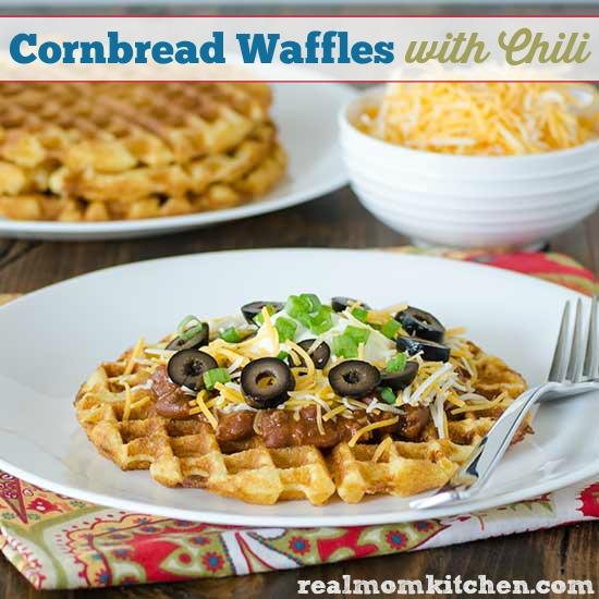 Cornbread Waffles with Chili | realmomkitchen.com