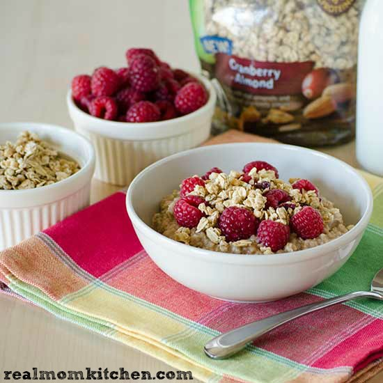 Oatmeal with Granola | realmomkitchen.com Muffins with Granola Topping | realmomkitchen.com #NVGranola