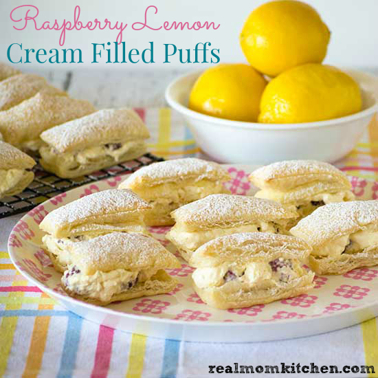 Raspberry Lemon Cream Filled Puffs | realmomkitchen.com