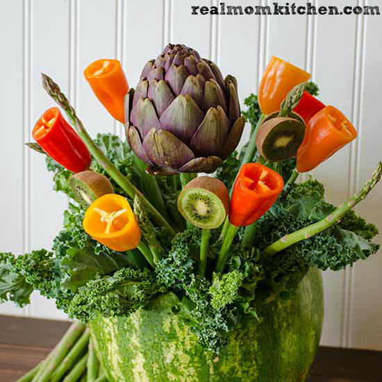 Make a flower vase using fruits and veggies | realmomkitchen.com