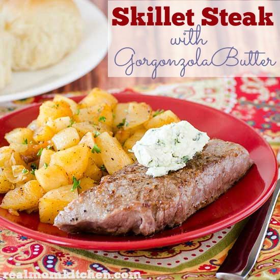 Skillet Steak with Gorgonzola Butter | realmomkitchen.com