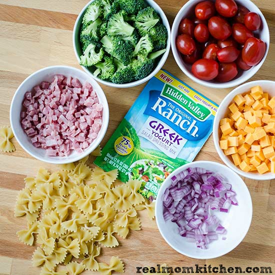 Ham and Cheese Ranch Pasta Salad ingredients | realmomkitchen.com