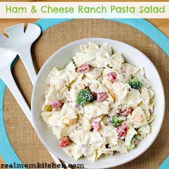 Ham and Cheese Ranch Pasta Salad | realmomkitchen.com