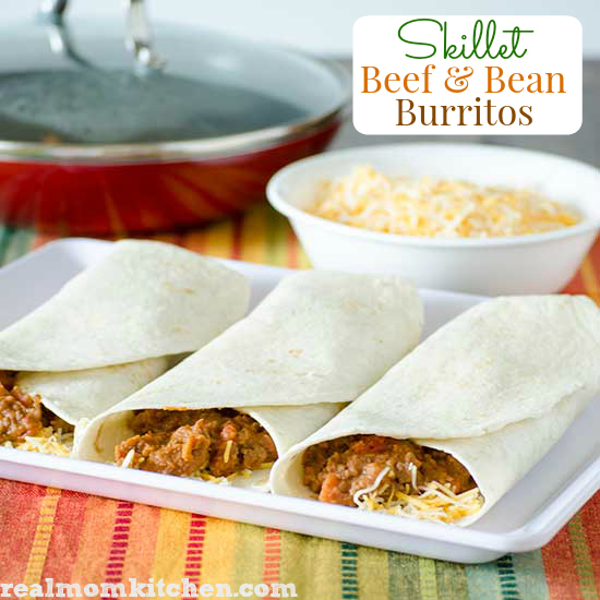 Skillet Beef and Bean Burritos | realmomkitchen.com