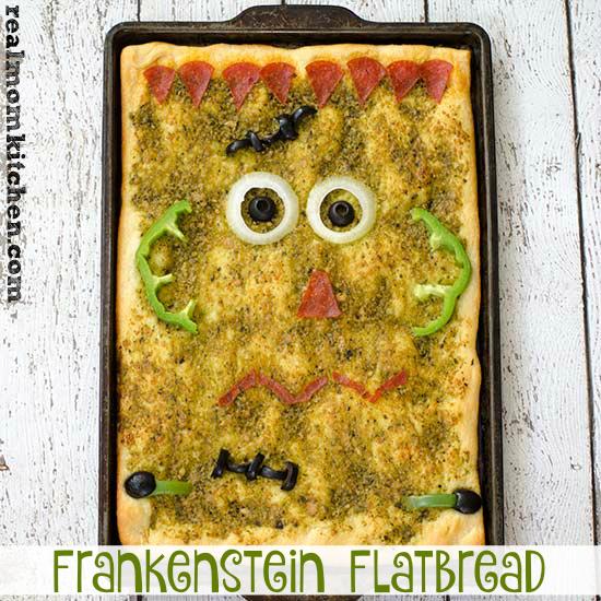 Frankenstein Flatbread | realmomkitchen.com #warmtraditions