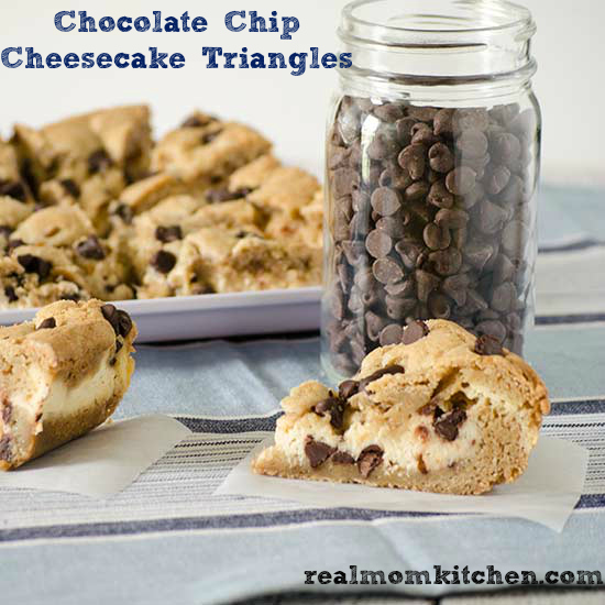 Chocolate Chip Cheesecake Triangles | realmomkitchen.com