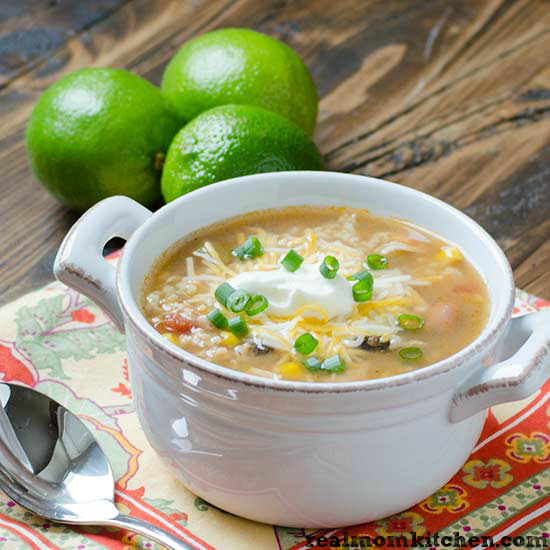 Quick Chicken and Rice Taco Soup | realmomkitchen.com