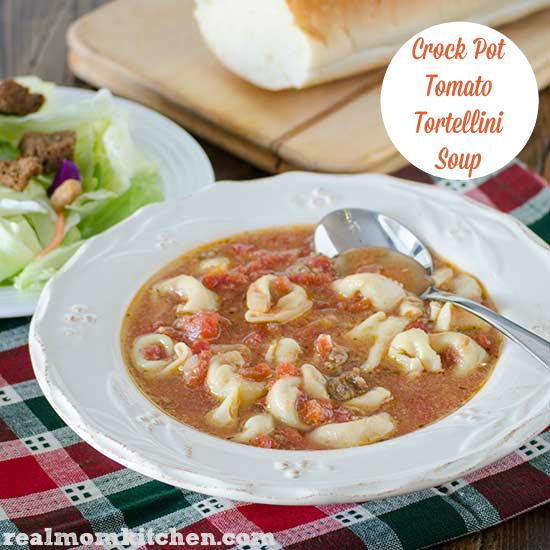 Crock Pot Tomato Tortellini Soup | realmomkitchen.com