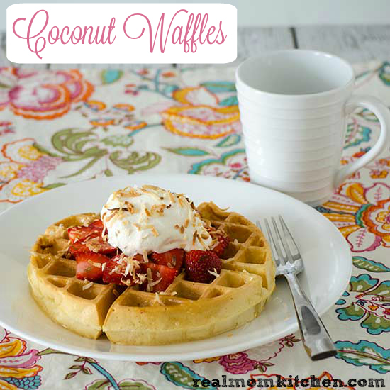 Coconut Waffles with Coconut Syrup   realmomkitchen.com