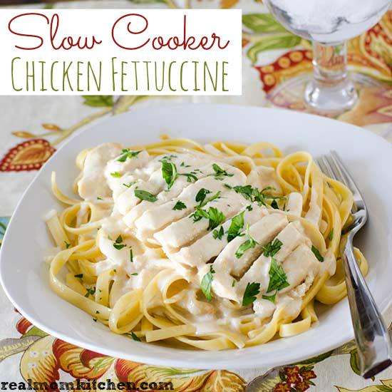 Slow Cooker Chicken Fettuccine | realmomkitchen.com