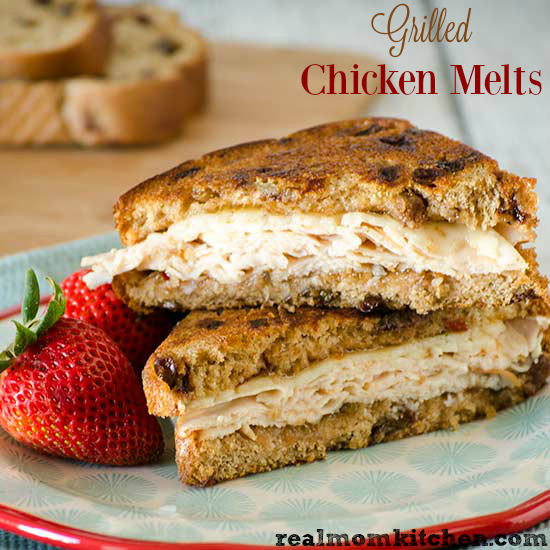 Grilled Chicken Melts | realmomkitchen.com #NationalGrilledCheeseDay
