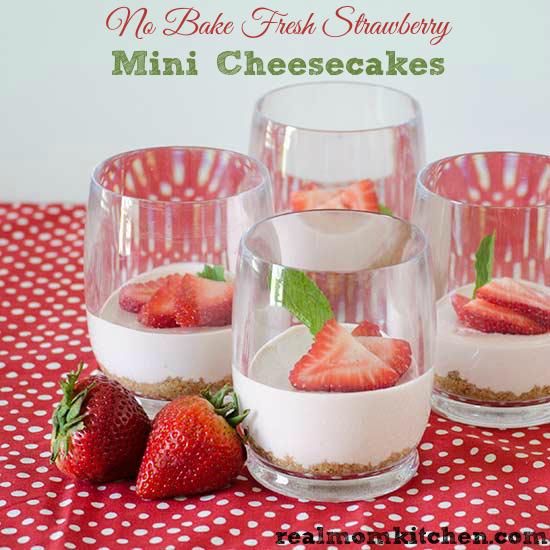 No Bake Mini Fresh Strawberry Cheesecake | realmomkitchen.com