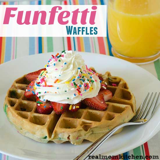 Funfetti Waffles | realmomkitchen.com