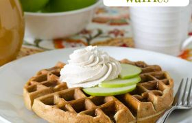 Apple Fritter Waffles with Piced Whipped Cream | realmomkitchen.com