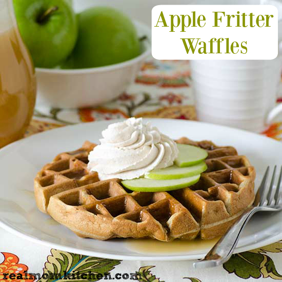Apple Fritter Waffles with Spiced Whipped Cream | realmomkitchen.com