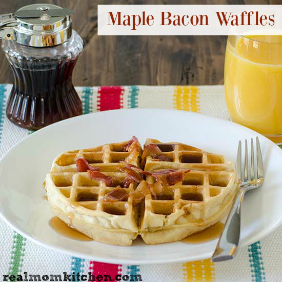 Maple Bacon Waffles | realmomkitchen.com
