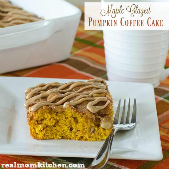 Maple Glazed Pumpkin Coffee Cake | realmomkitchen.com