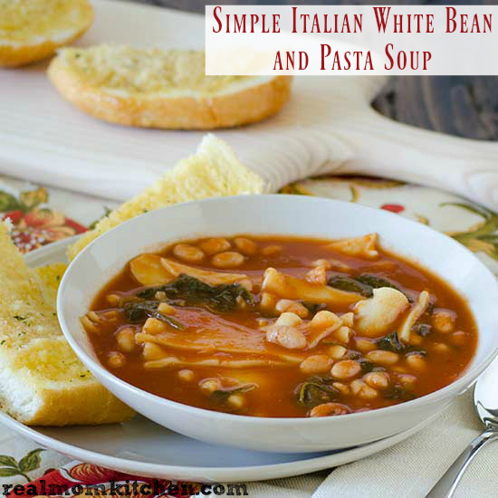 Simple Italian White Bean and Pasta Soup | realmomkitchen.com