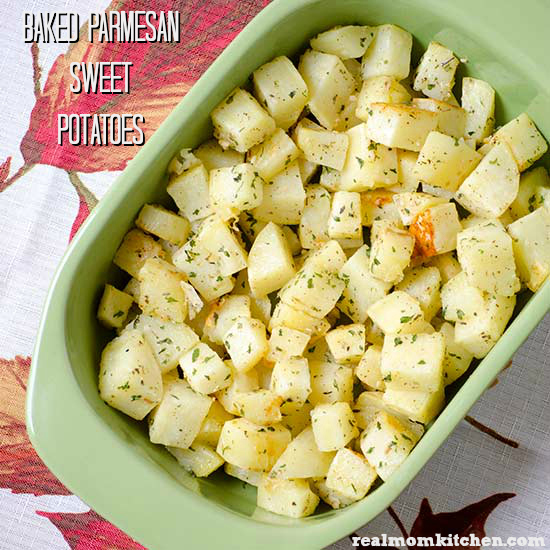 Baked Parmesan Sweet Potatoes | realmomkitchen.com