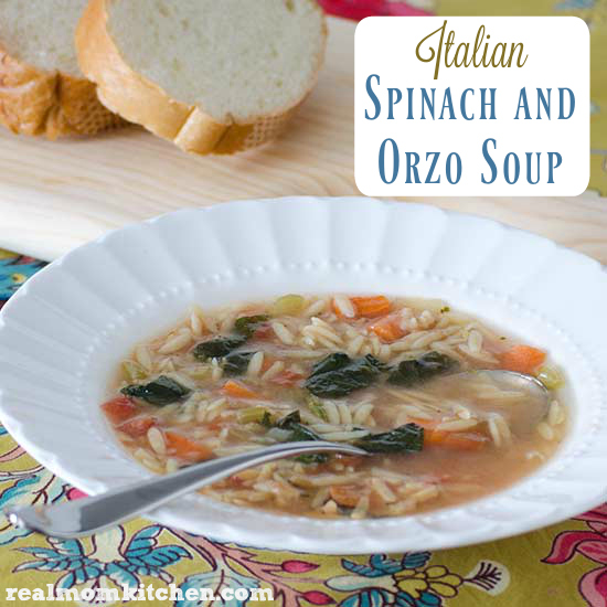 Italian Spinach and Orzo Soup | realmomkitchen.com