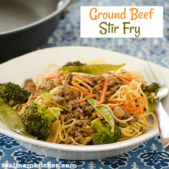 Ground beef stir fry real mom kitchen for What can you cook with ground beef