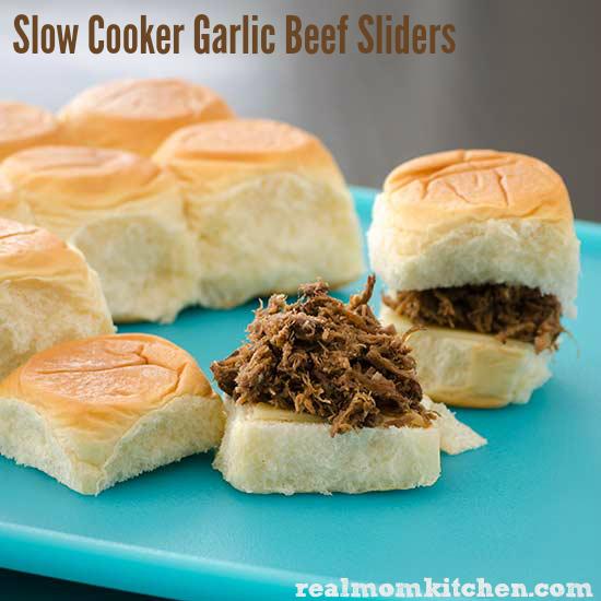 Real Mom Kitchen: Slow Cooker Garlic Beef Sliders