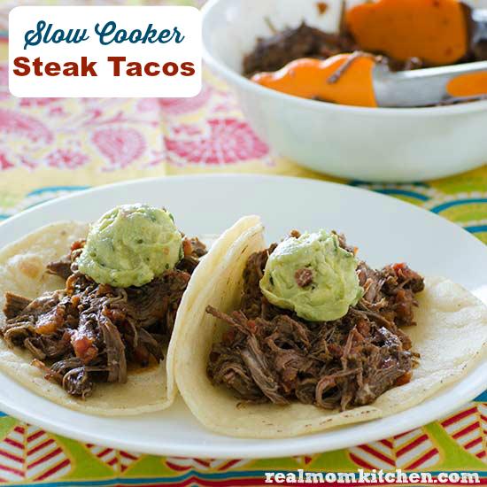 Slow Cooker Steak Tacos | realmomkitchen.com