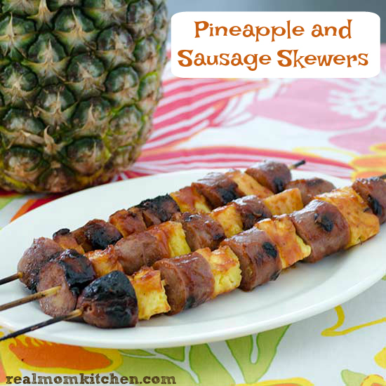Sausage and Pineapple Skewers | realmomkitchen.com