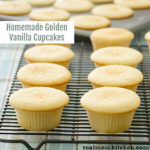 Homemade Golden Vanilla Cupcakes   realmomkitchen.com