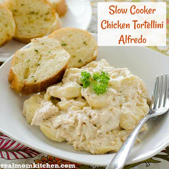 Slow Cooker Chicken Tortellini Alfredo | realmomkitchen.com