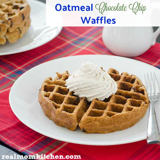 Oatmeal Chocolate Chip Waffles   realmomkitchen.com