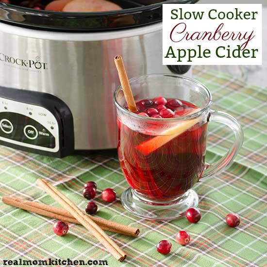 Slow Cooker Cranberry Apple Cider   realmomkitchen.com