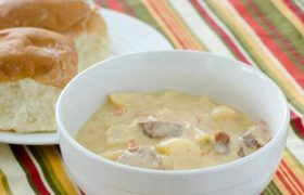 Slow Cooker Sausage and Potato Soup | realmomkitchen.com