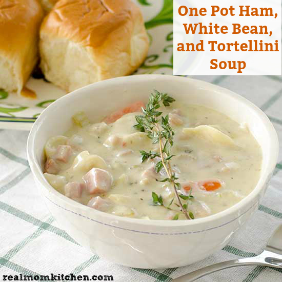 One Pot Ham, White Bean, and Tortellini Soup | realmomkitchen.com