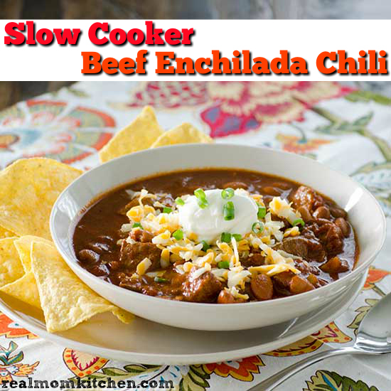 Slow Cooker Beef Enchilada Chili | realmomkitchen.com