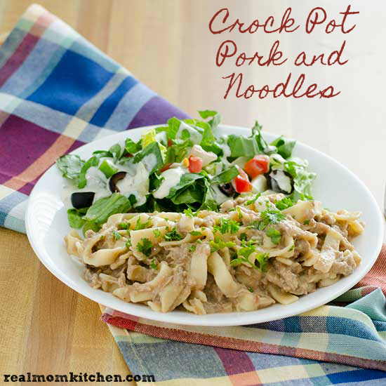 Crock Pot Pork and Noodles | realmomkitchen.com