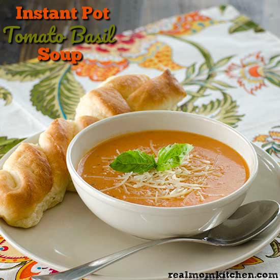 Instant Pot Tomato Basil Soup   realmomkitchen.com