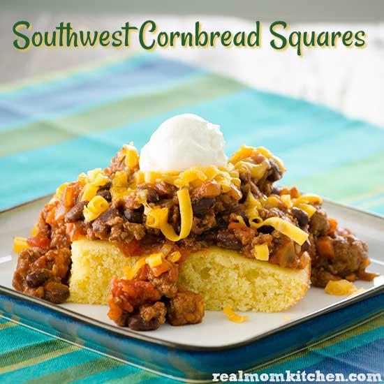 Southwest Cornbread Squares | realmomkitchen.com