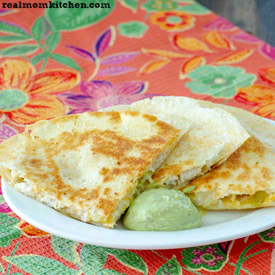 Chicken and Green Chile Quesadillas | realmomkitchen.com