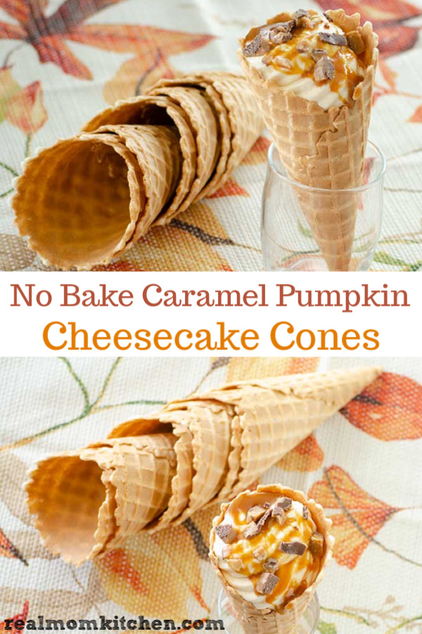 No Bake Caramel Pumpkin Cheesecake Cones | realmomkitchen.com