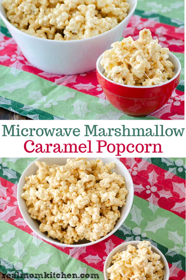 Microwave Marshmallow Caramel Popcorn | realmomkitchen.com