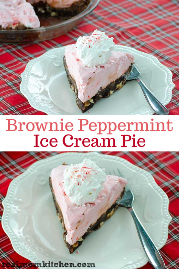 Brownie Peppermint Ice Cream Pie | realmomkitchen.com
