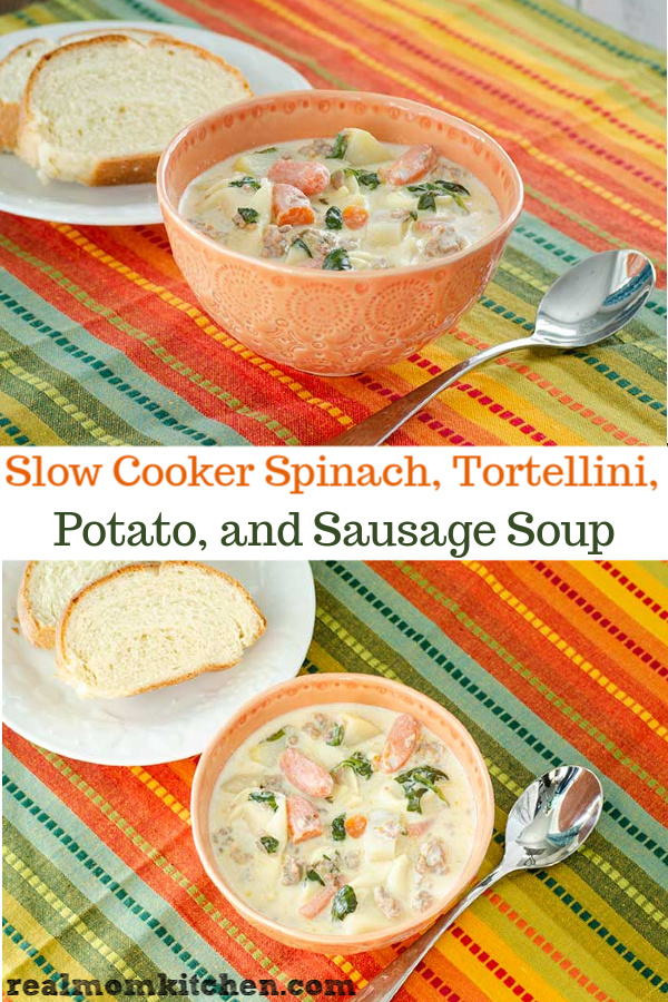 Slow Cooker Spinach, Tortellini, Potato, and Sausage Soup | realmomkitchen.com