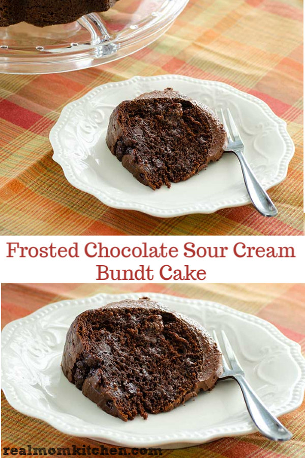 Frosted Chocolate Sour Cream Bundt Cake | realmomkitchen.com