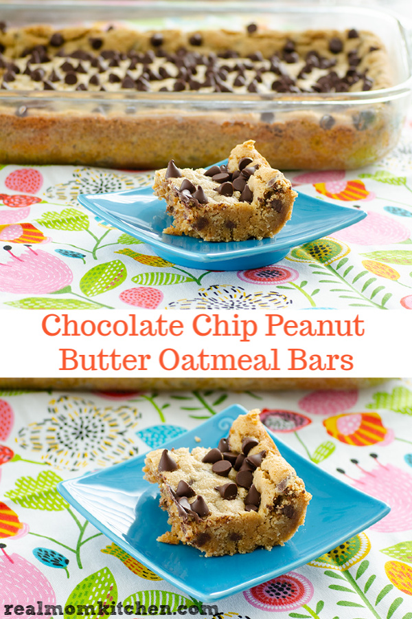 Chocolate Chip Peanut Butter Oatmeal Bars | realmomkitchen.co