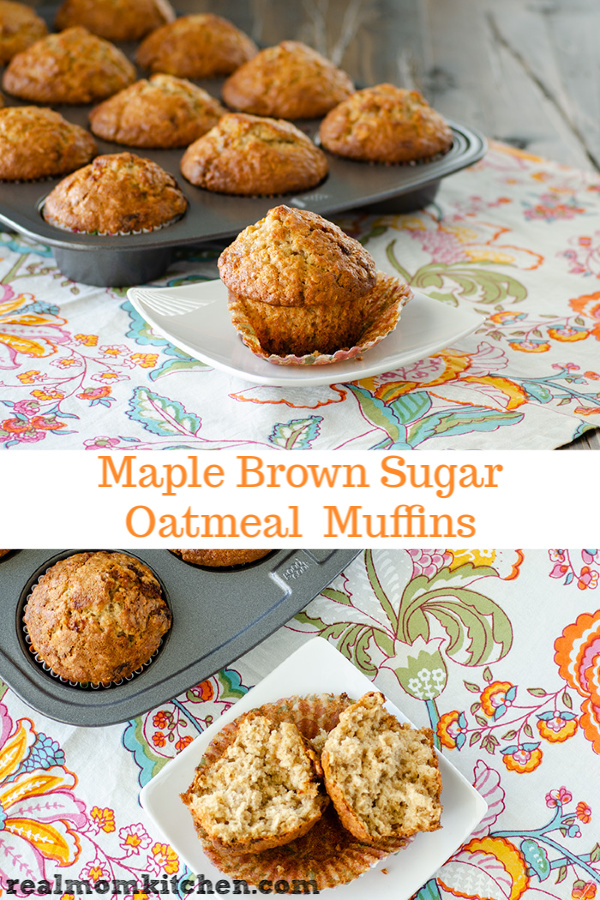 Maple Brown Sugar Oatmeal Muffins | realmomkitchen.com